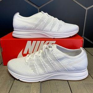 Nike Flyknit Trainer Triple White Gum Running Shoe